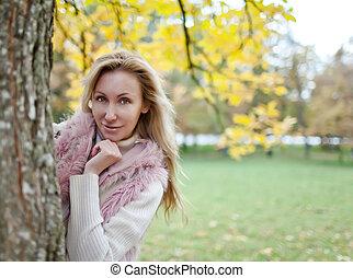 The girl in park