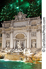 Celebratory fireworks over Fountain of Trevi. Italy. Rome