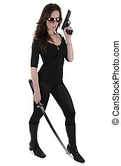 Young woman with katana - Sexy woman ready to fight on a...