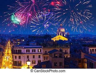 Celebratory fireworks over Rome. Italy