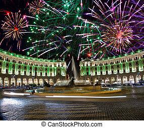 Celebratory fireworks over Republic square. Italy. Rome