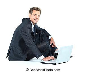isolado, sentada, jovem, homem negócios, usando,...