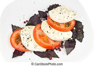 tomato, mozzarella, basil and pepper