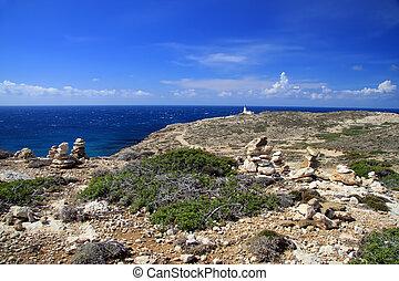 Greece. Rhodes. A beacon of Prasonisi.