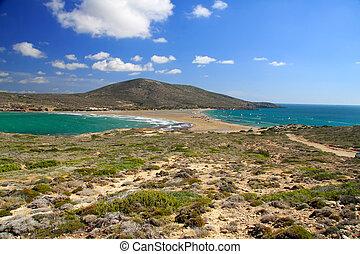 Greece. Rhodes. Prasonisi -Place where meet Aegean and Mediterranean sea