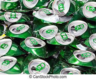 a, Amarrotado, Cerveja, latas