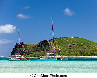 Mauritius Catamarans near the island Gabriel