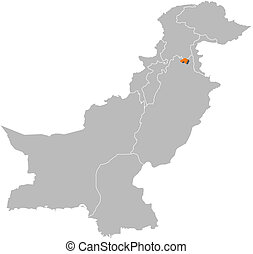 Map of Pakistan, Islamabad highlighted