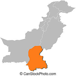 Map of Pakistan, Sindh highlighted