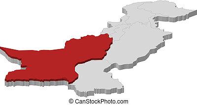 Map of Pakistan, Balochistan highlighted