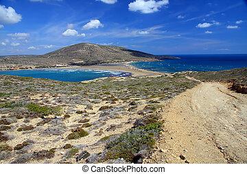 """Greece. Rhodes. Prasonisi - """"the Kiss of two seas"""" Place where meet Aegean and Mediterranean sea"""