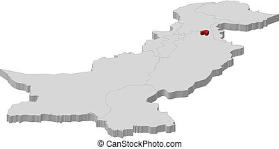 Map of Pakistan, Islamabad highlighted - Political map of...