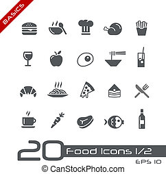 Food Icons - Set 1 of 2 Basics - Vector icons set for your...