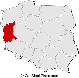 Map of Poland, Lubusz highlighted