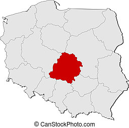 Map of Poland, Lodz highlighted