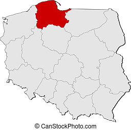 Map of Poland, Pomeranian highlighted - Political map of...