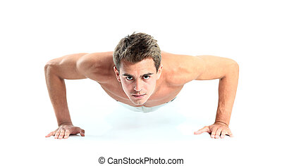 Young man doing push up exercise