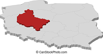 Map of Poland, Greater Poland highlighted - Political map of...