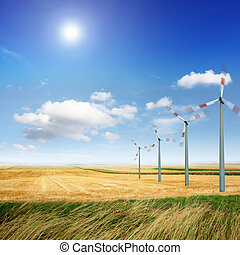 renewable wind power - Wind turbine generate electricity on...
