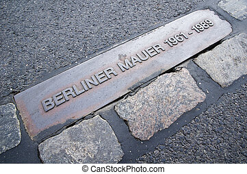 Berlin Wall (Berliner Mauer) - Berliner Mauer sign in place...