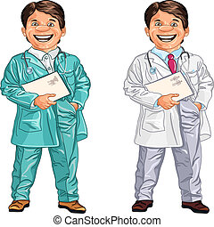 happy smiling doctor and veterinarian - set of happy doctor...