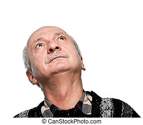 mature man looking up isolated on white