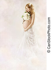 Pregnant woman looking at flowers wearing long white dress. Over abstract art background.
