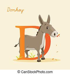 Animal alphabet with donkey