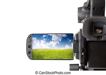 Video camera - isolated black camcorder with screen open...