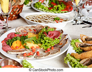 collation - Various meat slices on white plate - collation