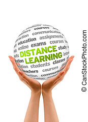 Distance Learning - Hands holding a Distance Learning Word...
