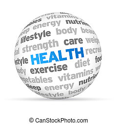 Health - 3d Health Word Sphere on white background.