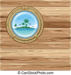 Boat porthole with seascape