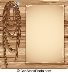 Woodencdr - Vintage background with blank page and hemp rope...