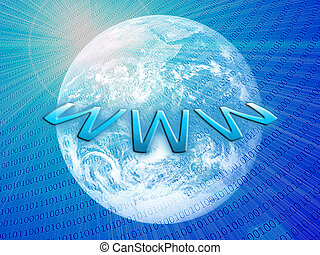 Wide world web concept: planet earth with integrated bits and bytes