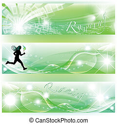Set of 3 banners with runner, torch and abstract effects