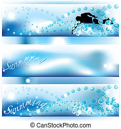 Set of 3 swimming banners with shades of blue