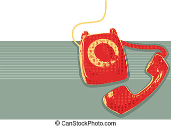 Retro telephone.Vector grunge poster background for text