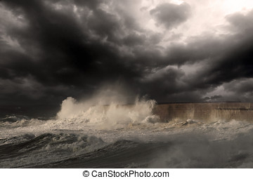 Stormy sea - Dramatic sea scene with big white waves...