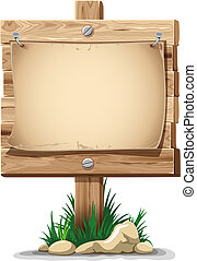 Wooden sign - Wooden signpost with nailed paper sheet, grass...