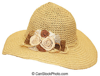 Straw hat - Hand-made straw hat decorated with dried flowers