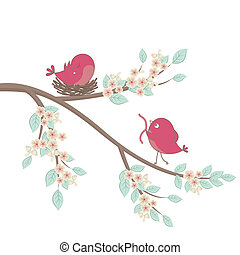 Birds family in love. Vector. - Cute pink birds on a branch...