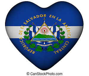 Heart with flag of El Salvador - Illustration of heart with...