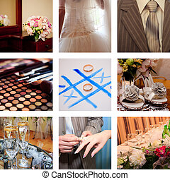collage of nine wedding photos