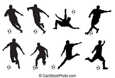 Soccer - Vector illustration of soccer players silhouettes