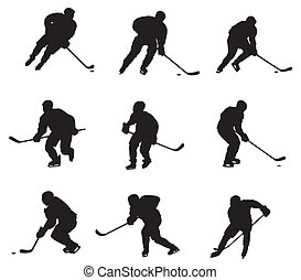 Hockey players - Abstract vector illustration of hockey...
