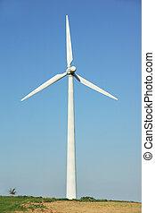 Wind turbine in a windfarm close to the Danube river...