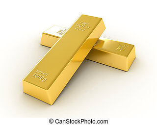 Gold bullions on white background