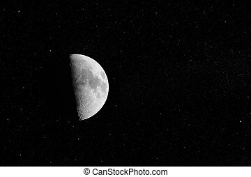 Half Moon on stars sky background