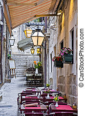 Narrow Street in the old town of Du - Narrow Street with...